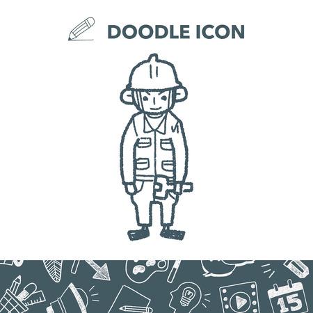 hard: worker doodle