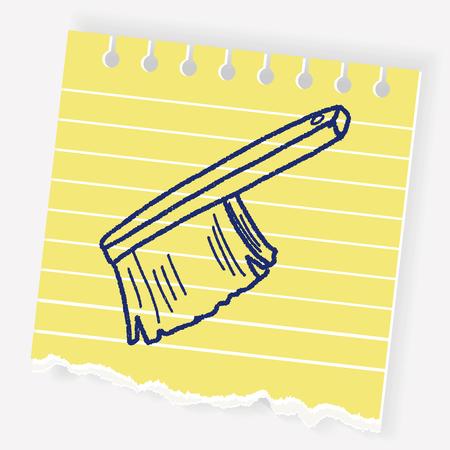 wet floor sign: clean brush doodle