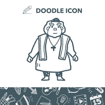 Doodle icon Bishop. Vector illustration