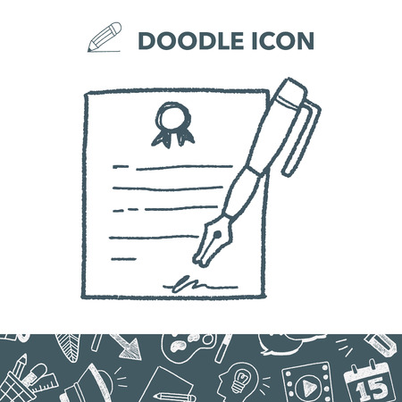 Certificate doodle icon Illustration