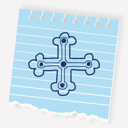 royal cross doodle Illustration