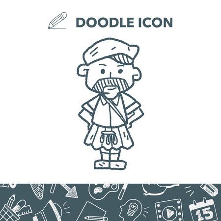 Scotland man doodle Illusztráció