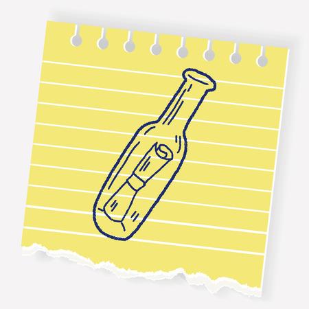 Bottled message doodle Illustration
