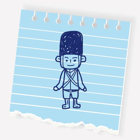 English Soldier doodle Illustration