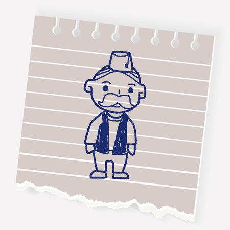 indian old man doodle