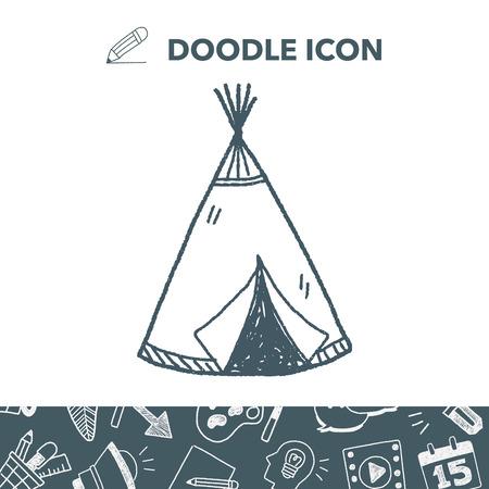 Indians tent doodle Stock Vector - 86278908