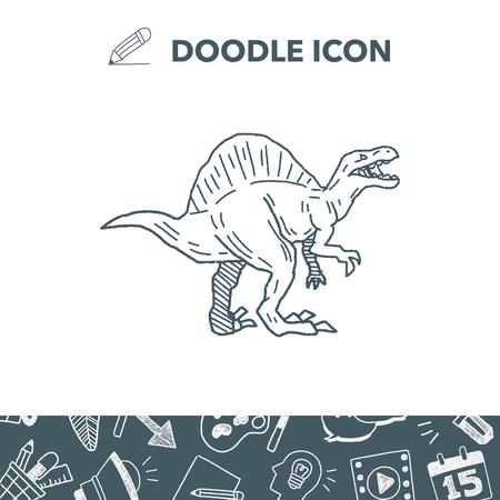 triceratops: Spinosaurus dinosaur doodle