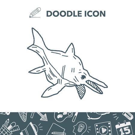 triceratops: Fish dinosaur doodle. Illustration