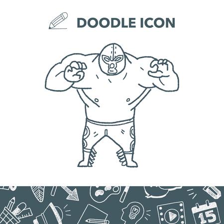 Mexican wrestler doodle. Illustration