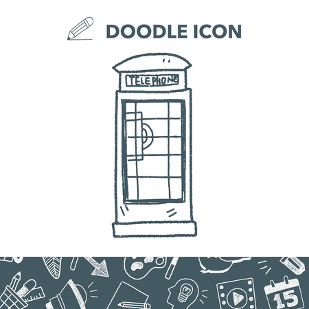 british culture: Telephone booth doodle.