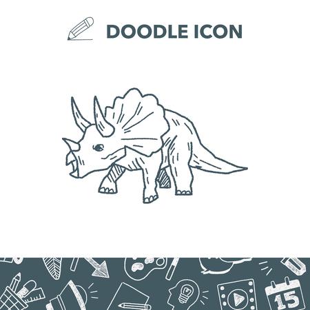 triceratops: Triceratops dinosaur doodle vector illustration