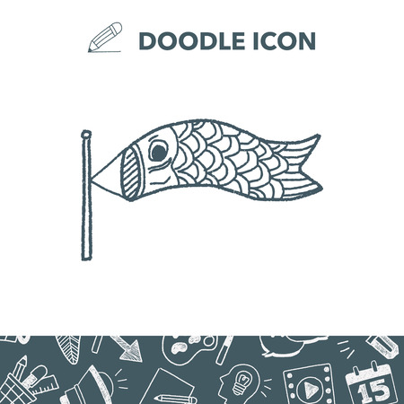 Japanese  kite doodle vector illustration