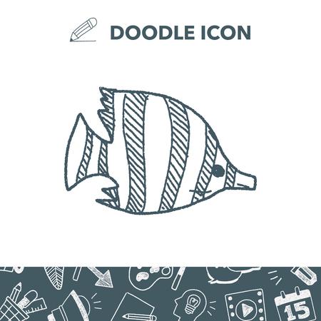clown fish: Tropical fish doodle vector illustration Illustration