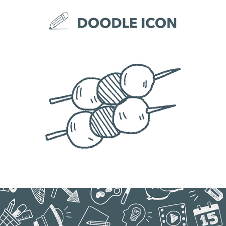 Meatball doodle vector illustration