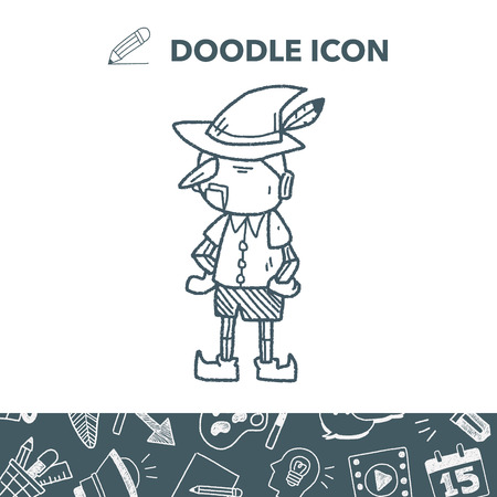 pinocchio doodle vector illustration