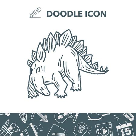 triceratops: Stegosaurus dinosaur doodle vector illustration