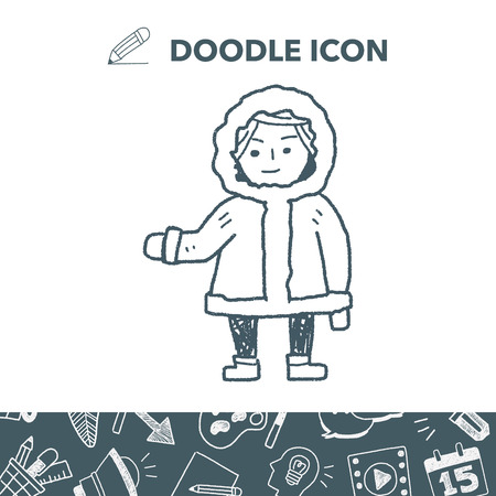 Eskimos doodle vector illustration