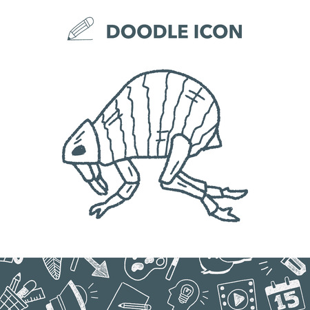 Flea doodle vector illustration Illustration