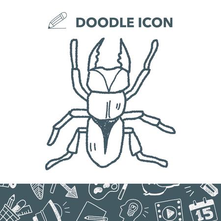 beetle doodle vector illustration