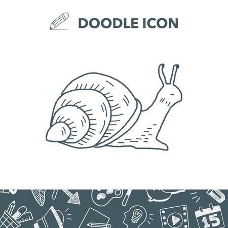 snail doodle vector illustration