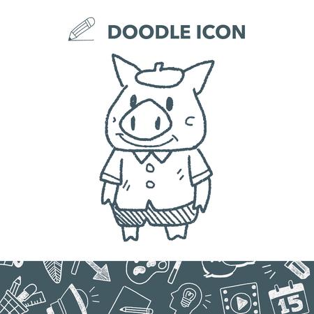 three little pigs doodle vector illustration