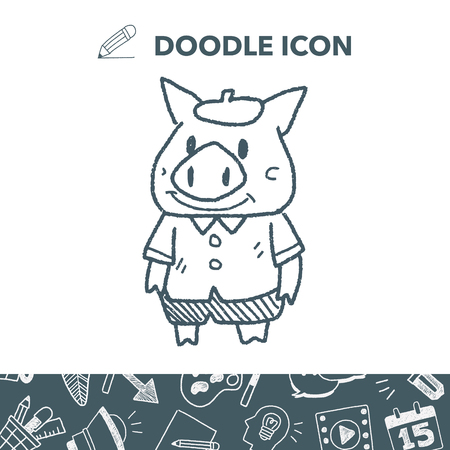 three little pigs doodle vector illustration Stock Vector - 86279101