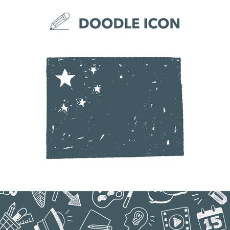 China flag doodle. Illusztráció