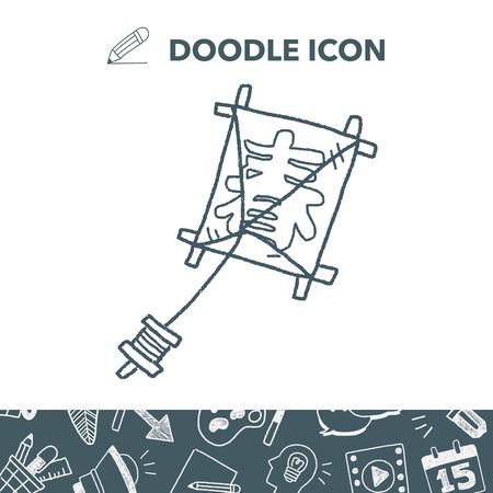 Japanese spring word kite doodle. Illustration