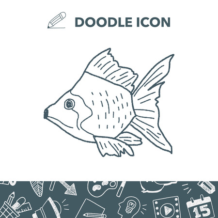 Goldfish doodle vector illustration Illustration