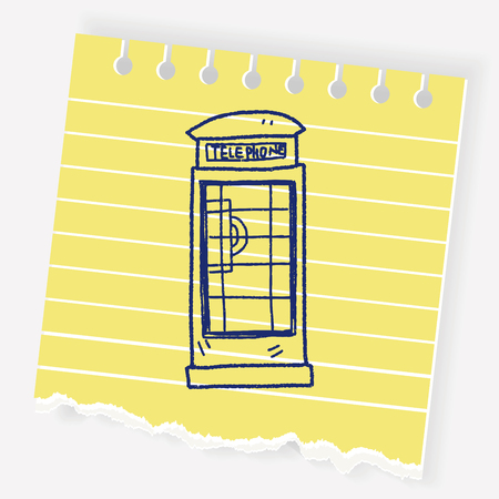 british culture: Telephone booth doodle