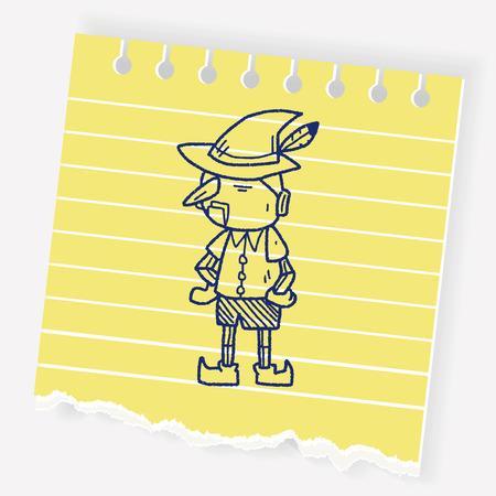 Pinocchio doodle Ilustración de vector