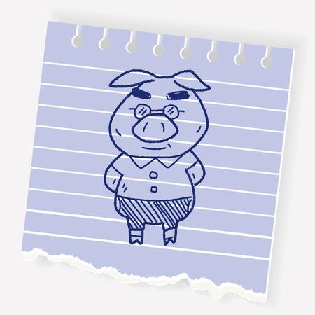 Pig doodle Illustration