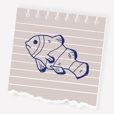 clown fish: Clownfish doodle Illustration