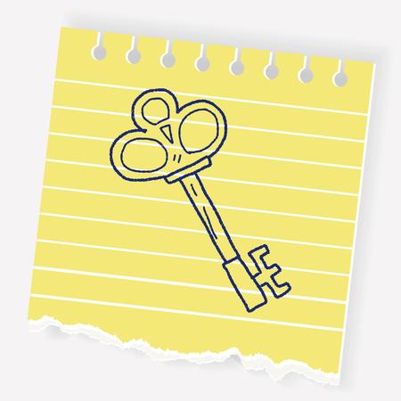 Old key doodle Illustration