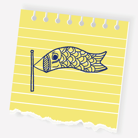 Japanese  kite doodle Illustration
