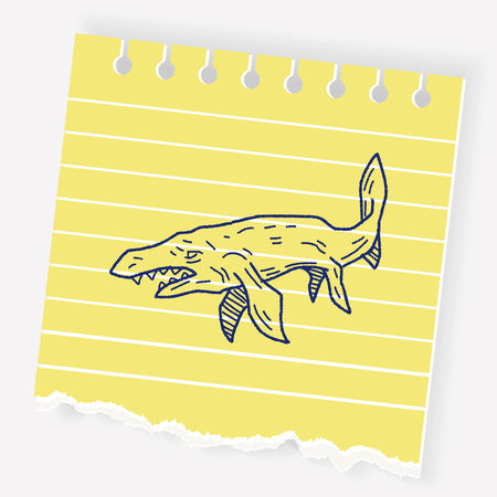 triceratops: Fish dinosaur doodle