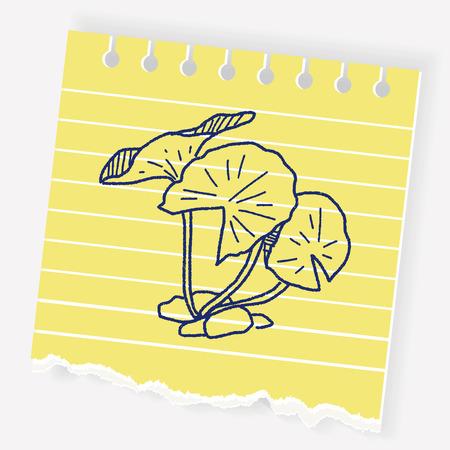 lily pad: Leaf doodle Illustration