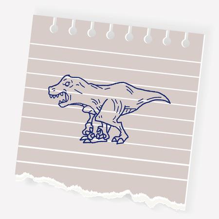 triceratops: Tyrannosaurus dinosaur doodle Illustration