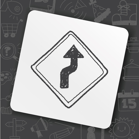 Winding road doodle icon on black background, vector illustration.