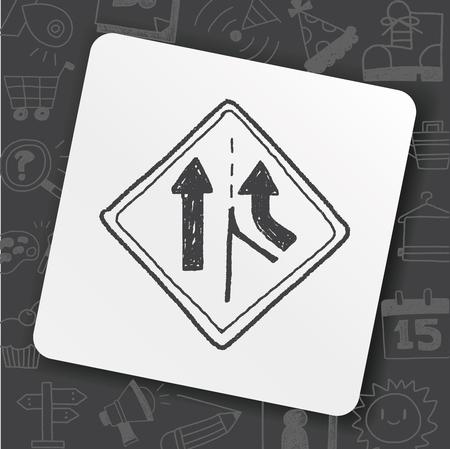 Traffic merges doodle icon on black background, vector illustration.