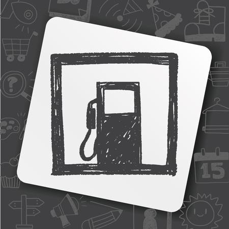 Petrol gas station doodle icon on black background, vector illustration.
