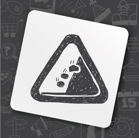 Rockfall doodle icon on black background, vector illustration.