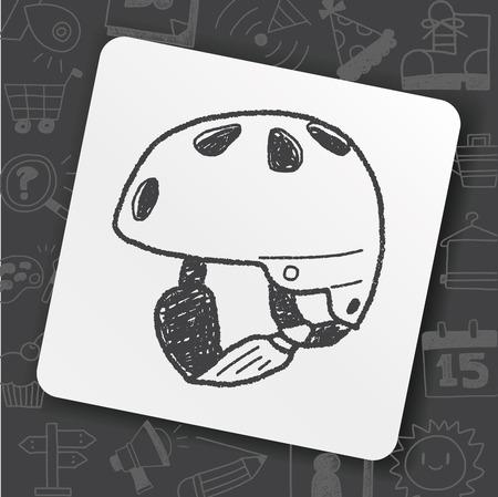 Skate helmet doodle icon on black background, vector illustration.