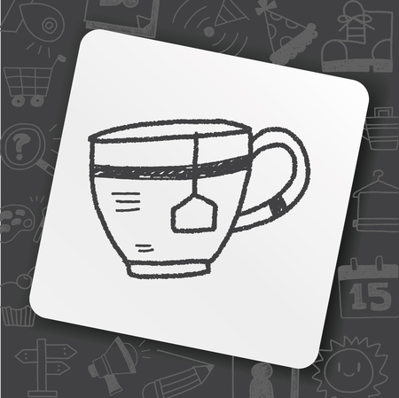 Kopje thee doodle illustratie.