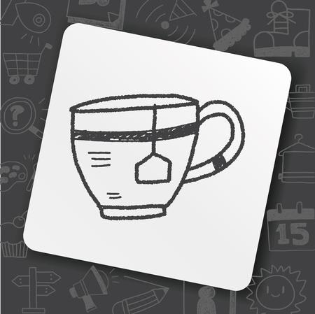 Cup of tea doodle illustration.