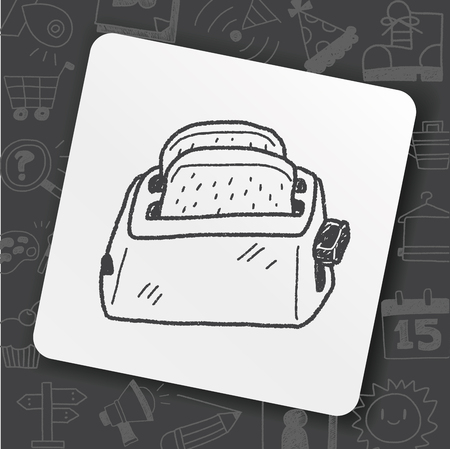 Oven toaster doodle illustration. Vettoriali