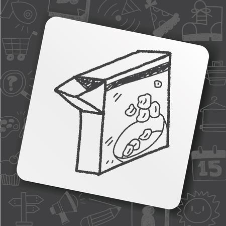 Box of cereal doodle drawing illustration. Ilustração