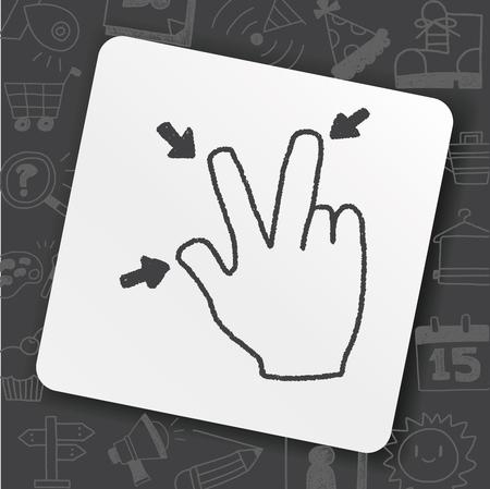 Hand Gesture doodle drawing illustration.