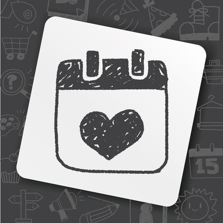 Love calendar doodle drawing illustration. Illustration
