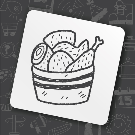 Bucket of chicken doodle drawing illustration.